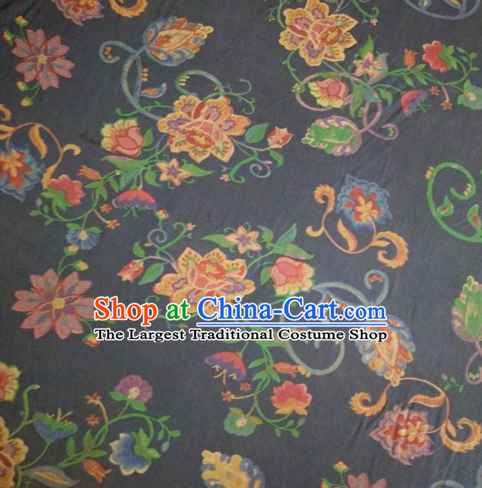 Chinese Traditional Flowers Pattern Navy Silk Fabric Mulberry Silk Fabric Hanfu Dress Material