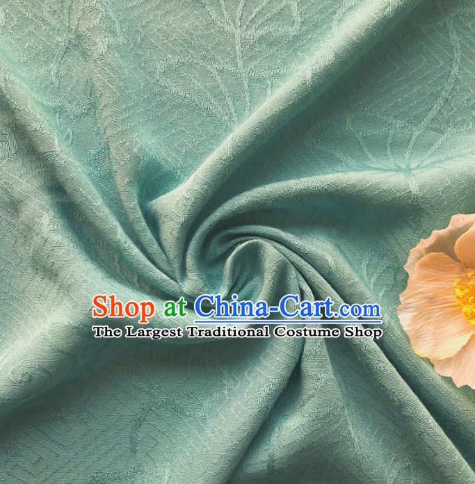 Chinese Traditional Classical Lotus Pattern Green Cotton Fabric Imitation Silk Fabric Hanfu Dress Material