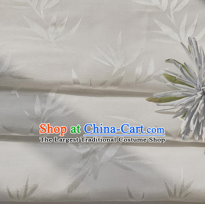 Chinese Traditional Classical Bamboo Leaf Pattern White Cotton Fabric Imitation Silk Fabric Hanfu Dress Material