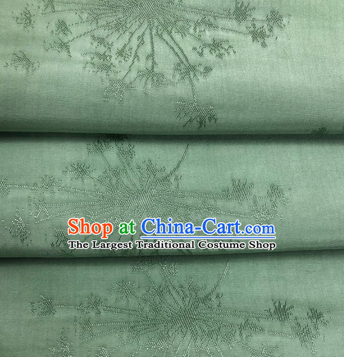 Chinese Traditional Classical Dandelion Pattern Green Cotton Fabric Imitation Silk Fabric Hanfu Dress Material
