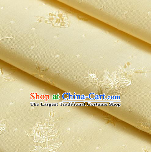 Chinese Traditional Classical Flowers Pattern Yellow Cotton Fabric Imitation Silk Fabric Hanfu Dress Material
