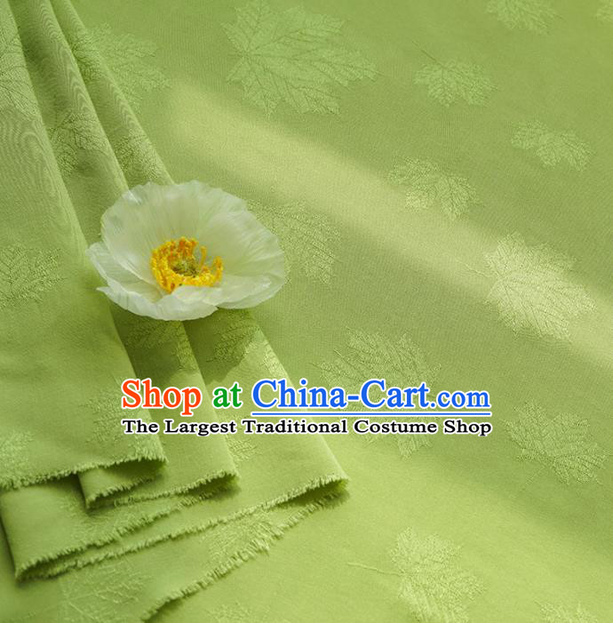 Chinese Traditional Classical Maple Leaf Pattern Light Green Cotton Fabric Imitation Silk Fabric Hanfu Dress Material