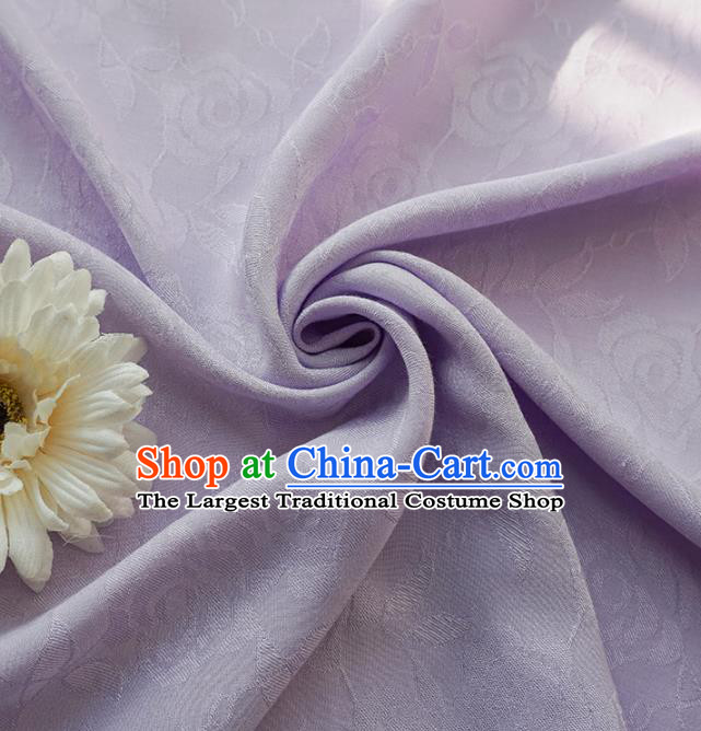 Chinese Traditional Classical Jacquard Roses Pattern Lilac Cotton Fabric Imitation Silk Fabric Hanfu Dress Material