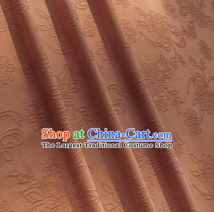 Chinese Traditional Classical Flowers Pattern Brown Cotton Fabric Imitation Silk Fabric Hanfu Dress Material