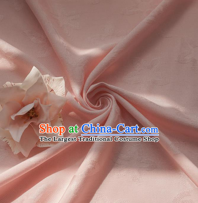 Chinese Traditional Classical Pattern Pink Cotton Fabric Imitation Silk Fabric Hanfu Dress Material