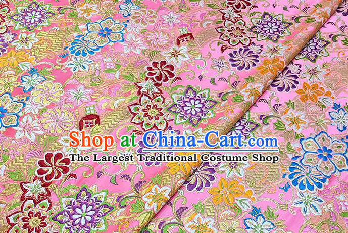 Japanese Traditional Pattern Kimono Pink Brocade Fabric Tapestry Satin Fabric Nishijin Material
