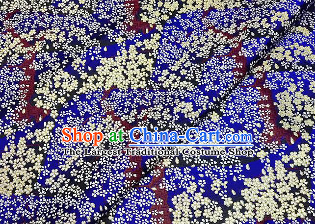 Japanese Traditional Sakura Pattern Kimono Royalblue Brocade Fabric Tapestry Satin Fabric Nishijin Material