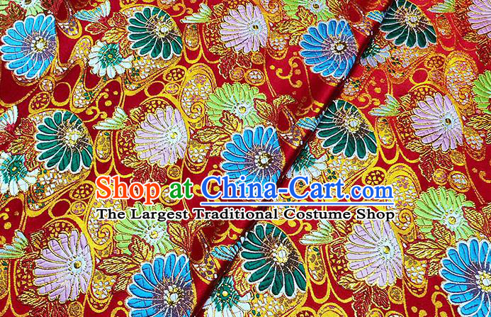 Japanese Traditional Sunflowers Pattern Kimono Red Brocade Fabric Tapestry Satin Fabric Nishijin Material
