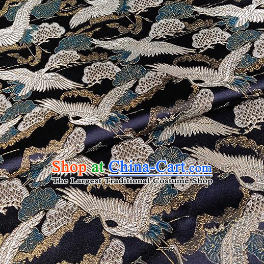 Chinese Traditional Classical Cranes Pattern Black Brocade Fabric Silk Satin Fabric Tang Suit Material