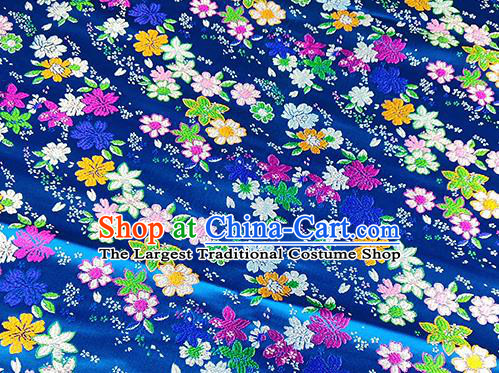 Japanese Traditional Primrose Pattern Kimono Blue Brocade Fabric Tapestry Satin Fabric Nishijin Material