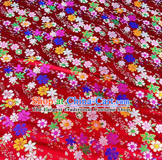 Japanese Traditional Primrose Pattern Kimono Red Brocade Fabric Tapestry Satin Fabric Nishijin Material