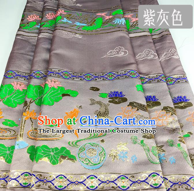Chinese Traditional Fishes Lotus Pattern Grey Brocade Fabric Silk Satin Fabric Hanfu Material