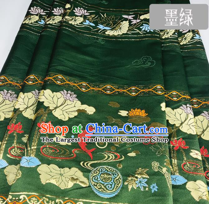 Chinese Traditional Fishes Lotus Pattern Deep Green Brocade Fabric Silk Satin Fabric Hanfu Material