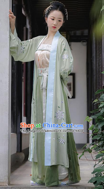 Chinese Ancient Maidservant Embroidered Dress Traditional Song Dynasty Young Lady Costume for Women