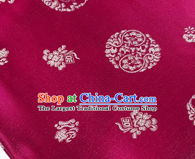 Chinese Traditional Pattern Wine Red Brocade Fabric Silk Satin Fabric Hanfu Material