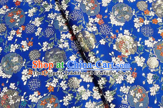 Japanese Traditional Carnations Pattern Kimono Royalblue Brocade Fabric Tapestry Satin Fabric Nishijin Material