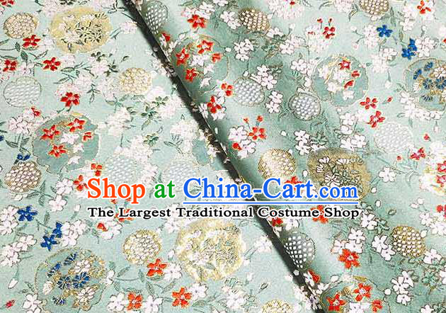 Japanese Traditional Carnations Pattern Kimono Light Green Brocade Fabric Tapestry Satin Fabric Nishijin Material
