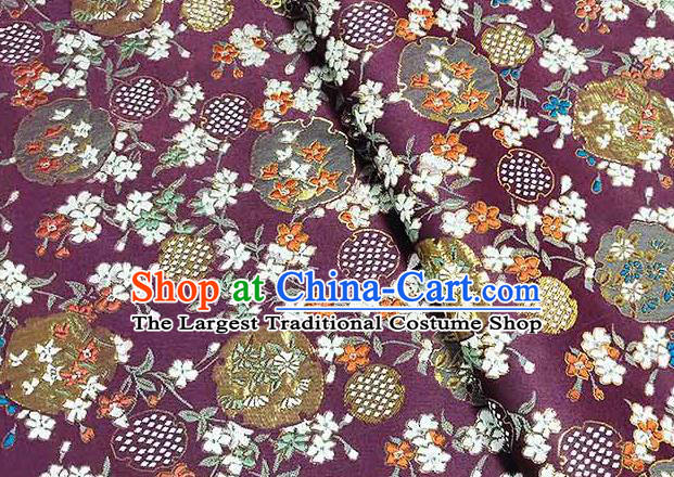 Japanese Traditional Carnations Pattern Kimono Purple Brocade Fabric Tapestry Satin Fabric Nishijin Material