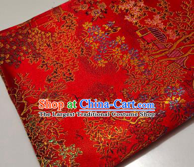 Chinese Traditional Scenery Pattern Red Brocade Fabric Silk Satin Fabric Hanfu Material