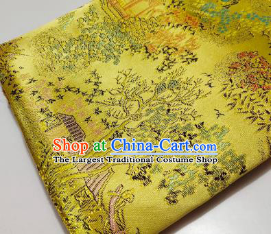 Chinese Traditional Scenery Pattern Golden Brocade Fabric Silk Satin Fabric Hanfu Material