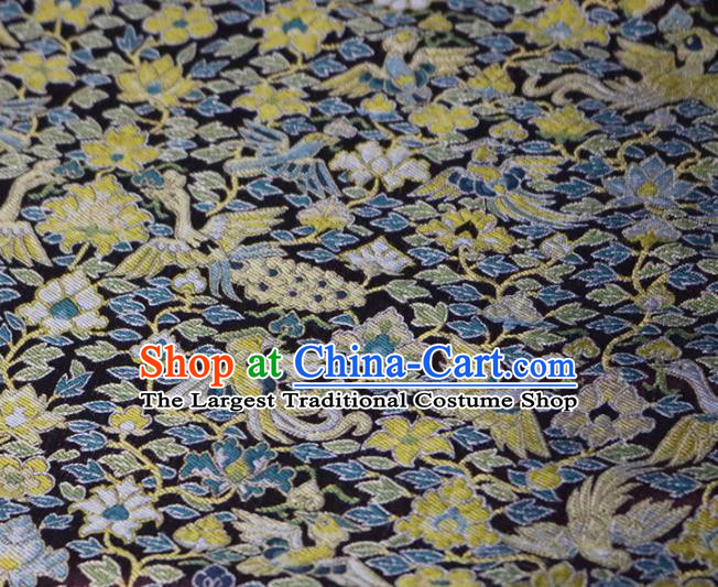 Chinese Traditional Peacock Pattern Black Brocade Fabric Silk Satin Fabric Hanfu Material