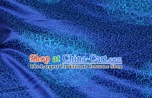 Chinese Traditional Auspicious Clouds Pattern Royalblue Brocade Fabric Silk Satin Fabric Hanfu Material