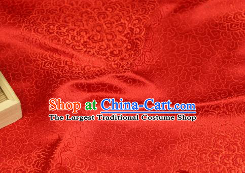 Chinese Traditional Auspicious Clouds Pattern Bright Red Brocade Fabric Silk Satin Fabric Hanfu Material