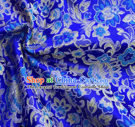 Chinese Traditional Flowers Pattern Royalblue Brocade Fabric Silk Satin Fabric Hanfu Material