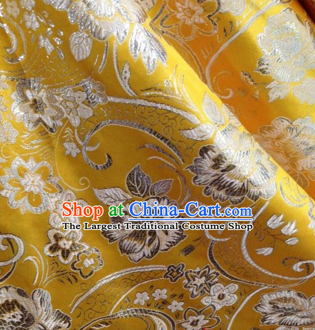Chinese Traditional Peony Pattern Yellow Brocade Fabric Silk Tapestry Satin Fabric Hanfu Material