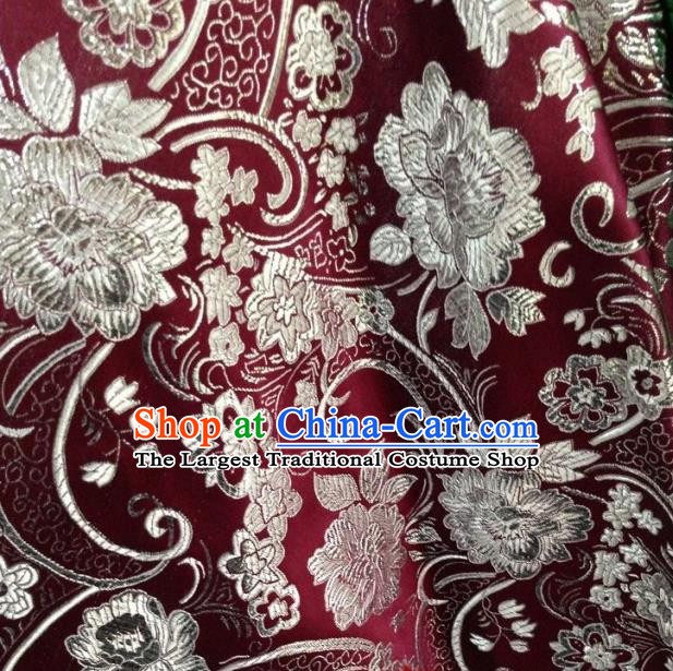 Chinese Traditional Peony Pattern Purplish Red Brocade Fabric Silk Tapestry Satin Fabric Hanfu Material