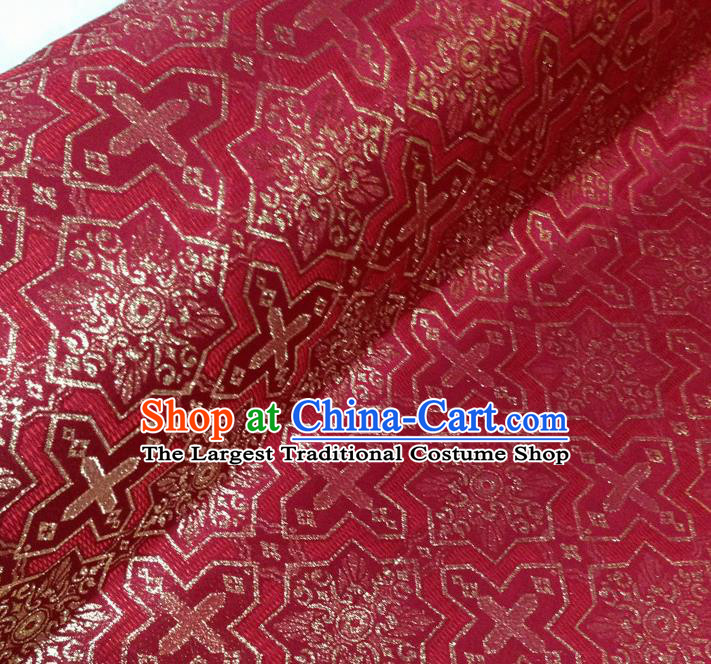 Japanese Traditional Pattern Kimono Red Brocade Fabric Tapestry Satin Fabric Nishijin Material