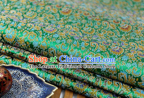 Chinese Traditional Celosia Cristata Pattern Green Brocade Fabric Silk Tapestry Satin Fabric Hanfu Material