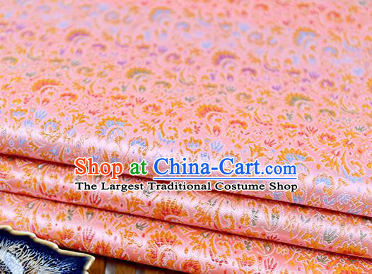 Chinese Traditional Celosia Cristata Pattern Pink Brocade Fabric Silk Tapestry Satin Fabric Hanfu Material