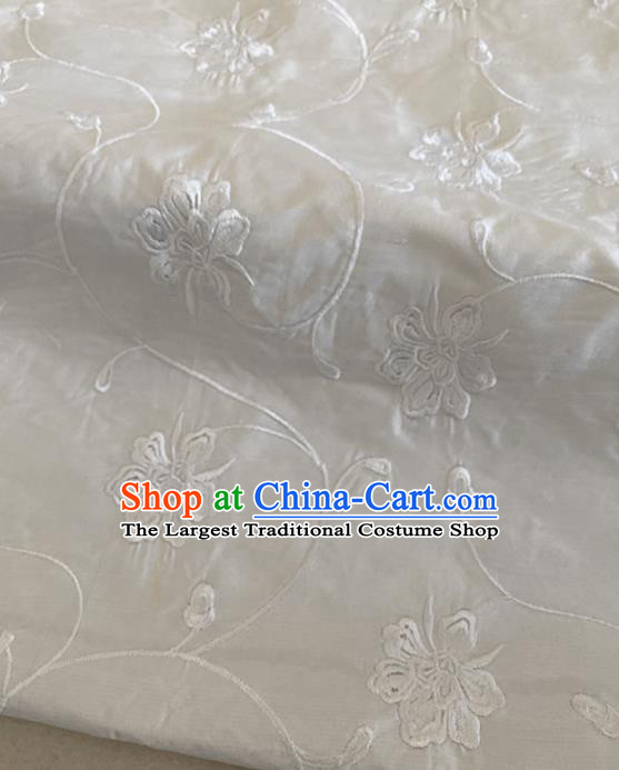 Chinese Traditional Embroidered Peony Pattern White Silk Fabric Hanfu Gambiered Guangdong Gauze Material