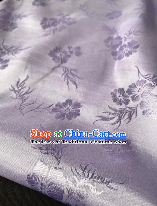Chinese Traditional Pattern Lilac Silk Fabric Hanfu Brocade Material