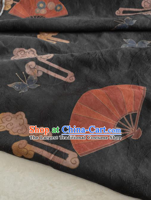 Chinese Traditional Butterfly Fan Pattern Black Silk Fabric Hanfu Gambiered Guangdong Gauze Material
