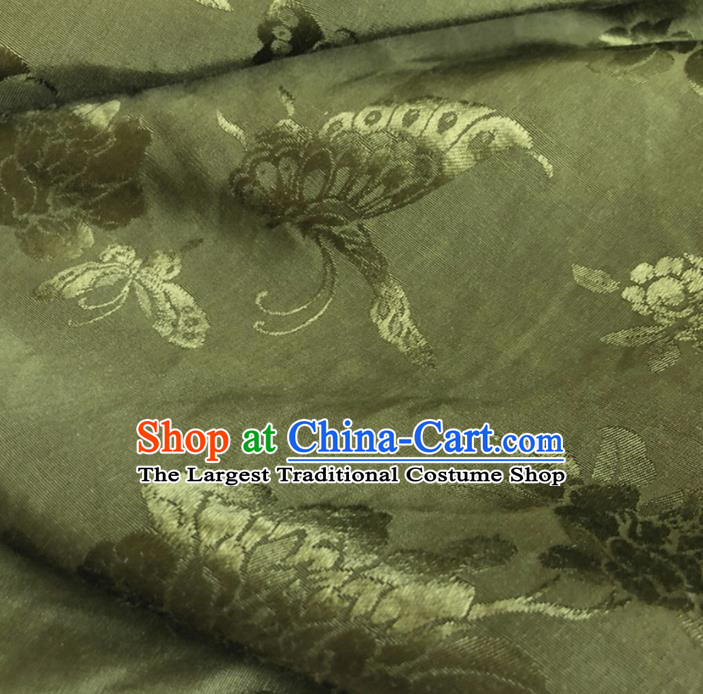 Chinese Traditional Butterfly Peony Pattern Olive Green Silk Fabric Hanfu Brocade Material
