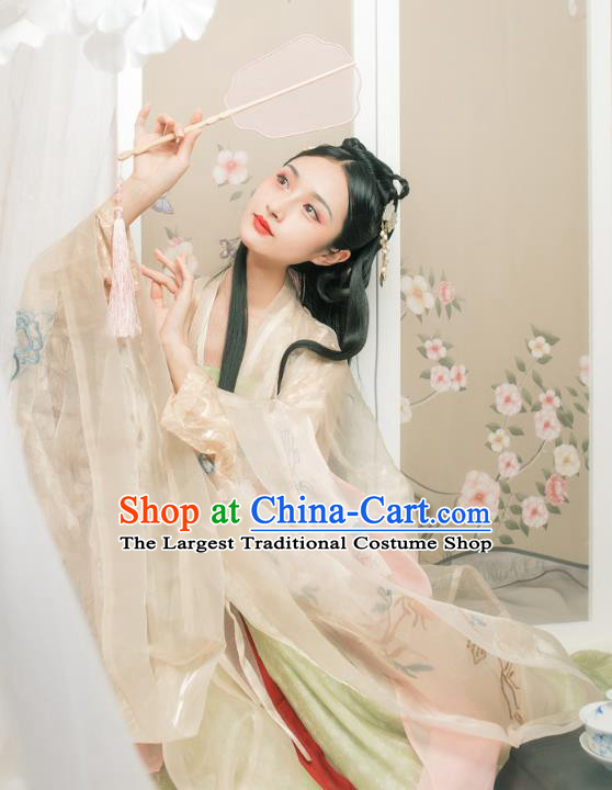 Chinese Ancient Patrician Infanta Embroidered Cloak and Dress Traditional Tang Dynasty Royal Princess Costumes for Women