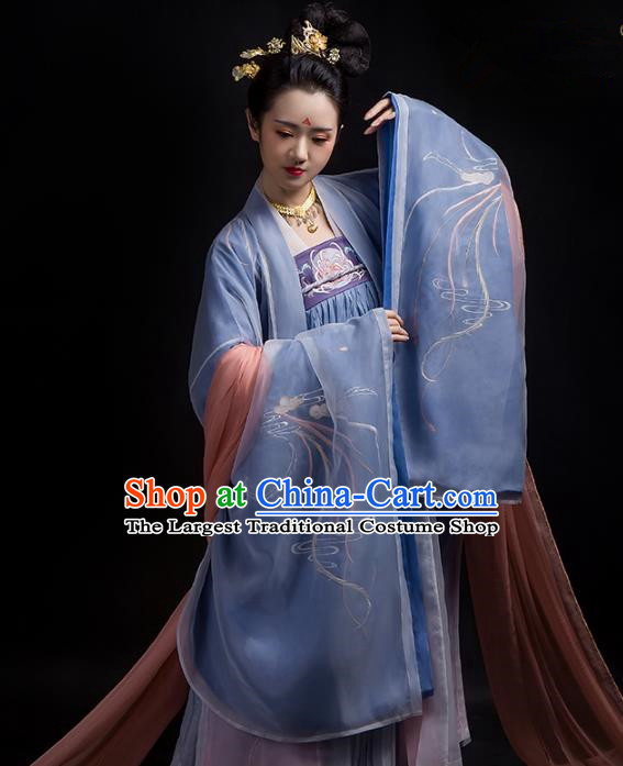 Chinese Ancient Hanfu Embroidered Dress Traditional Tang Dynasty Imperial Consort Costumes for Women