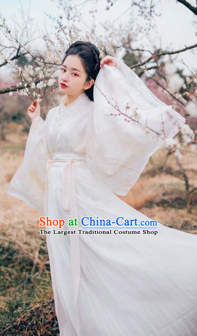 Chinese Ancient Court Lady Hanfu Embroidered Dress Traditional Jin Dynasty Royal Princess Costumes for Women