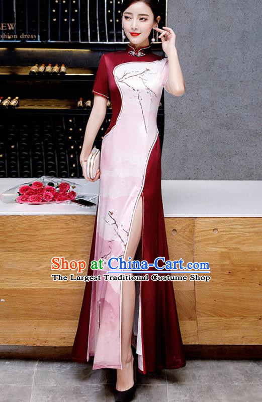 Chinese Spring Festival Gala Printing Pink Qipao Dress Traditional Compere Cheongsam Costume for Women