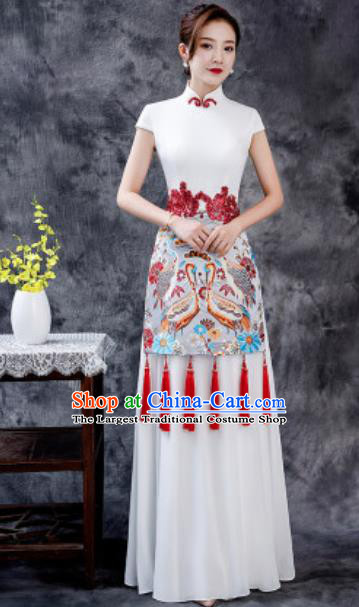 Chinese Chorus Printing White Chiffon Qipao Dress Traditional National Compere Cheongsam Costume for Women