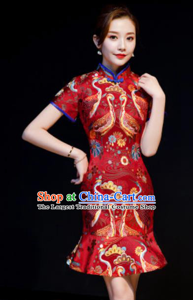 Chinese Chorus Red Brocade Short Qipao Dress Traditional National Compere Cheongsam Costume for Women