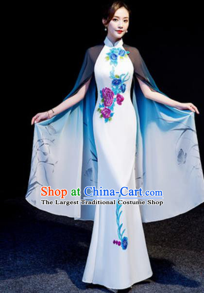 Chinese National Embroidered Peony White Qipao Dress Traditional Compere Cheongsam Costume for Women
