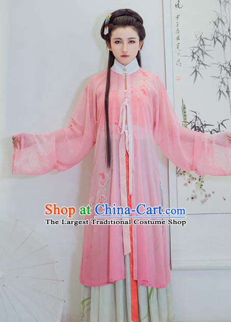 Chinese Ancient Rich Lady Embroidered Blouse and Skirt Traditional Ming Dynasty Nobility Female Costumes for Women
