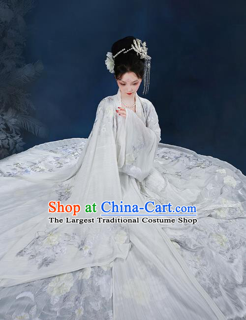 Chinese Tang Dynasty Imperial Consort Embroidered Dress Traditional Ancient Goddess Costumes for Women