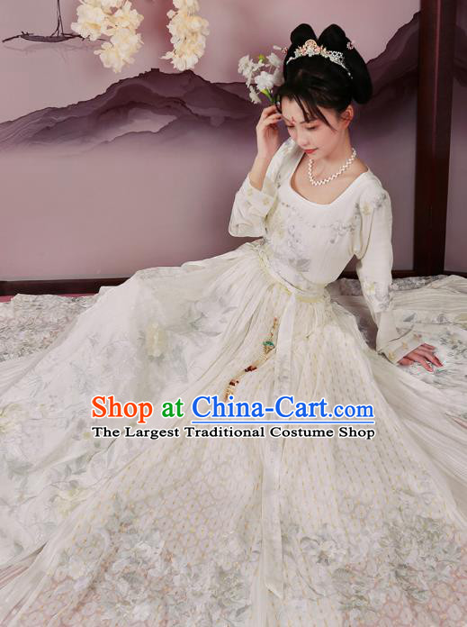 Chinese Tang Dynasty Court Maid Embroidered Dress Traditional Ancient Royal Princess Costumes for Women