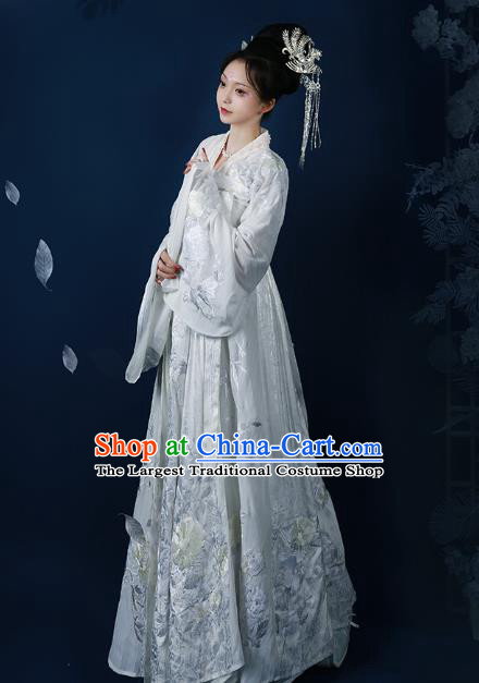 Chinese Tang Dynasty Royal Princess White Embroidered Dress Traditional Ancient Imperial Consort Costumes for Women