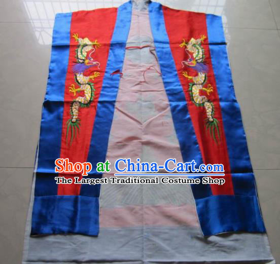 Chinese National Quanzhen Red Taoist Frock Embroidered Dragon Cassock Traditional Taoism Rites Costume for Men