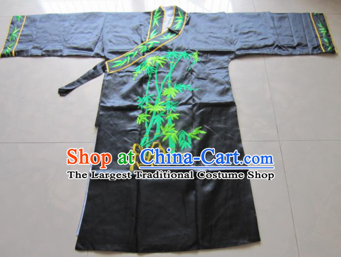 Chinese Traditional God Embroidered Black Priest Frock Taoism Deity Costume